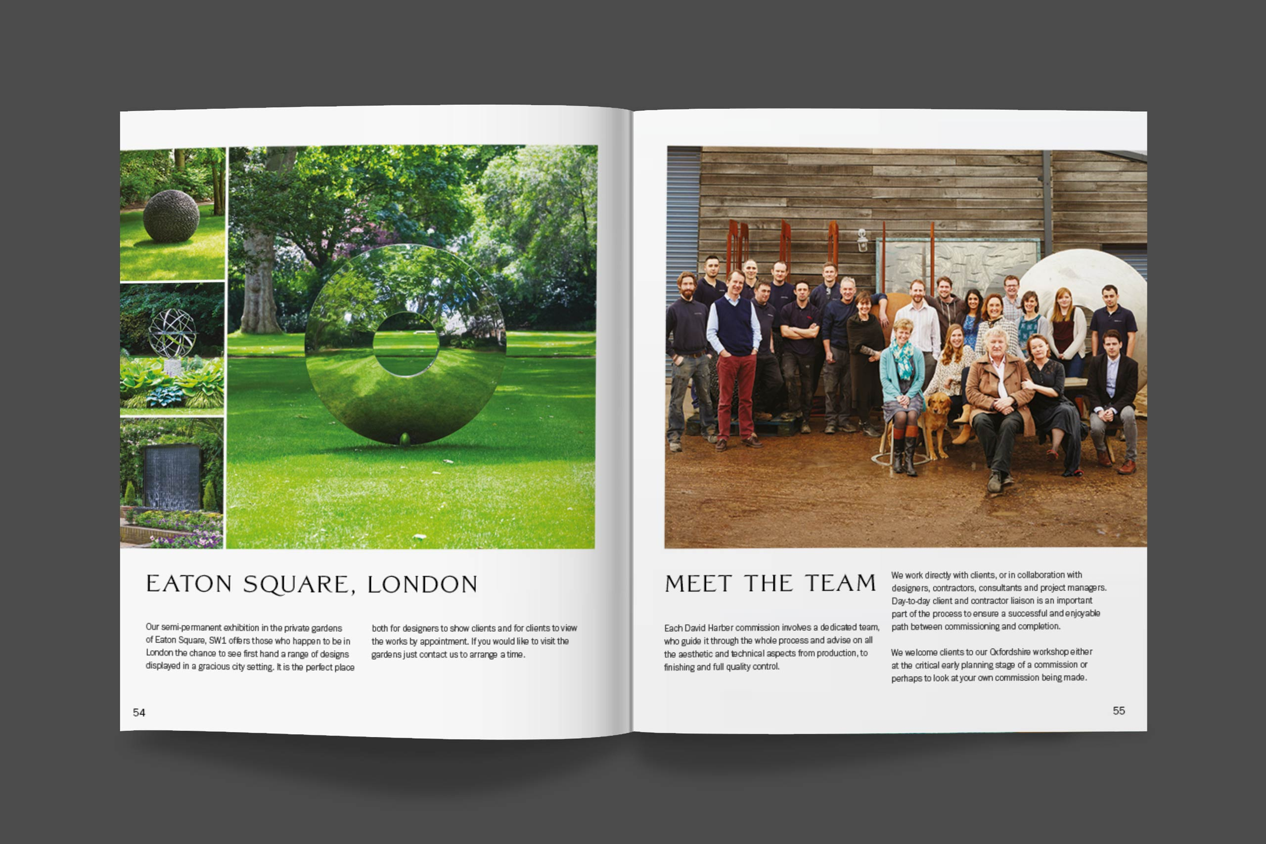 The team in brochure spread | sculpture artist