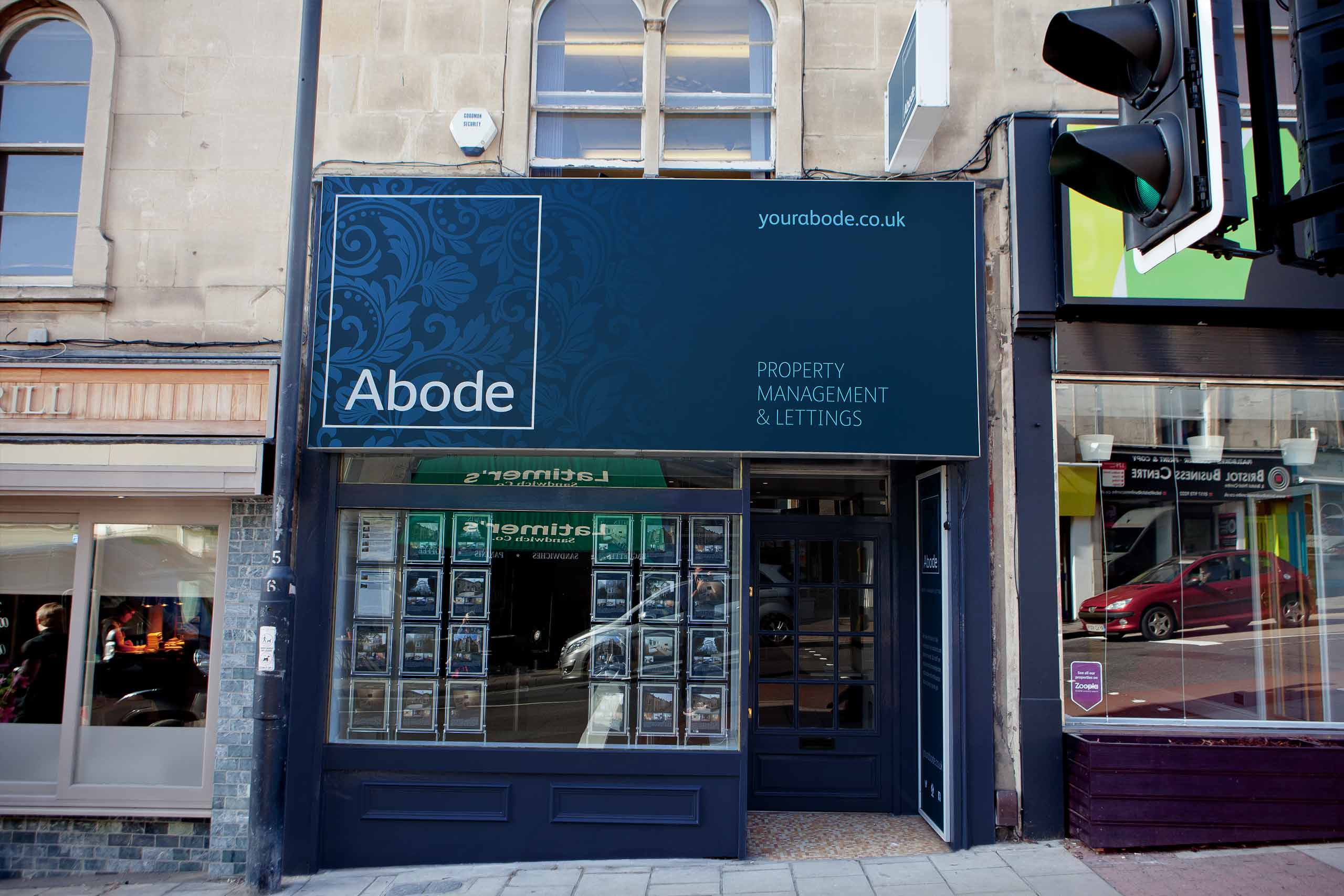 Abode office exterior signage
