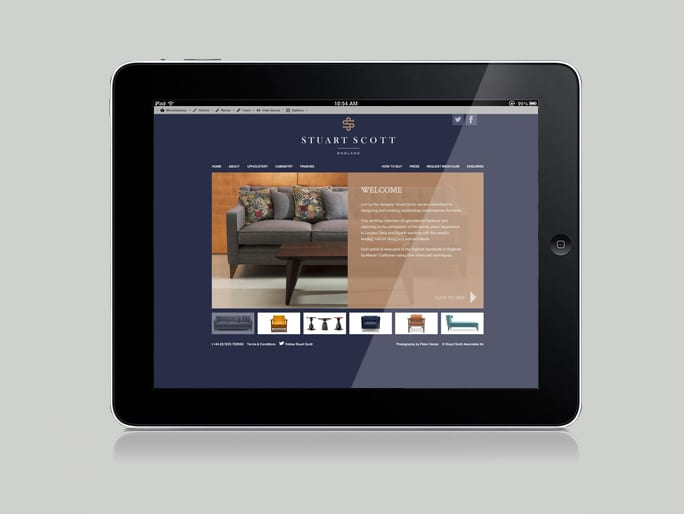 Luxury Furniture Branding Stuart Scott digital tablet