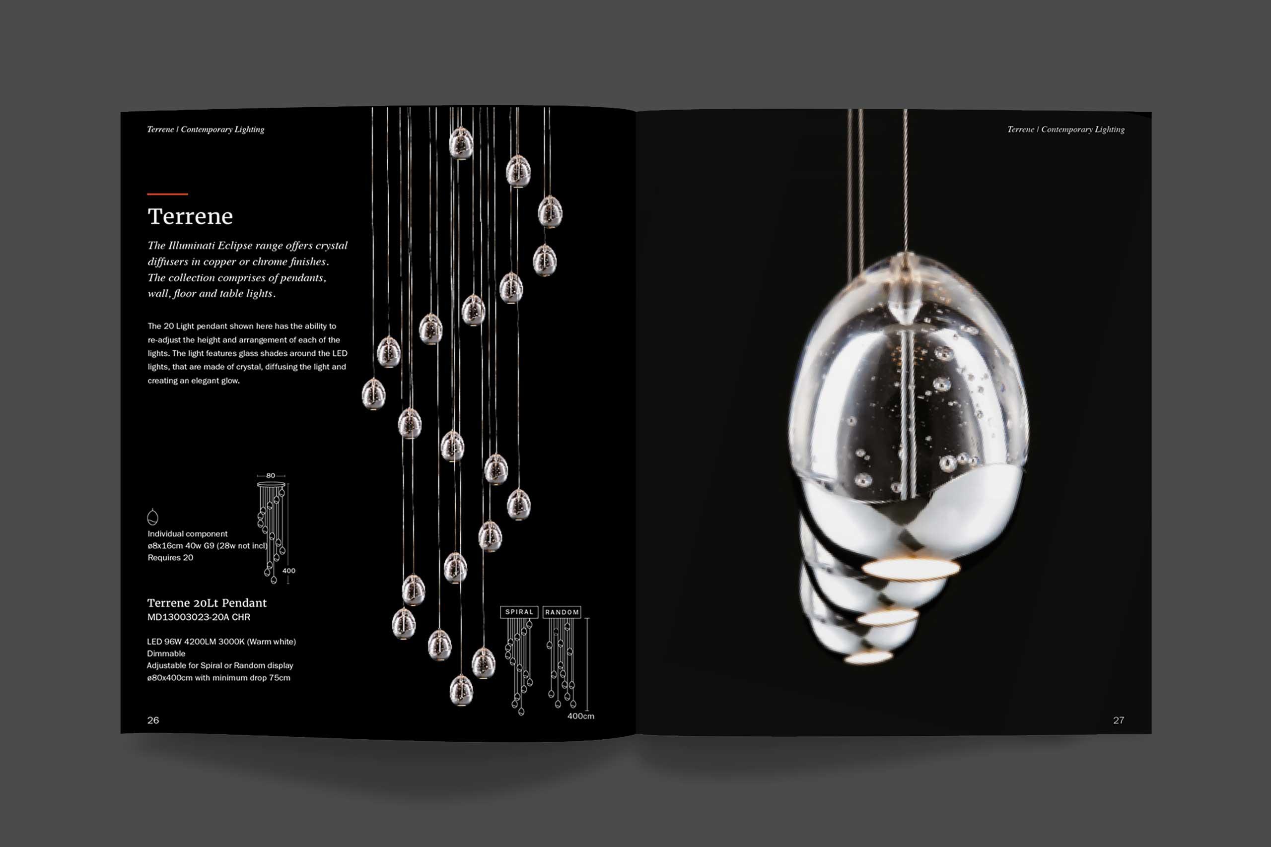 Illuminati lighting brochure spread
