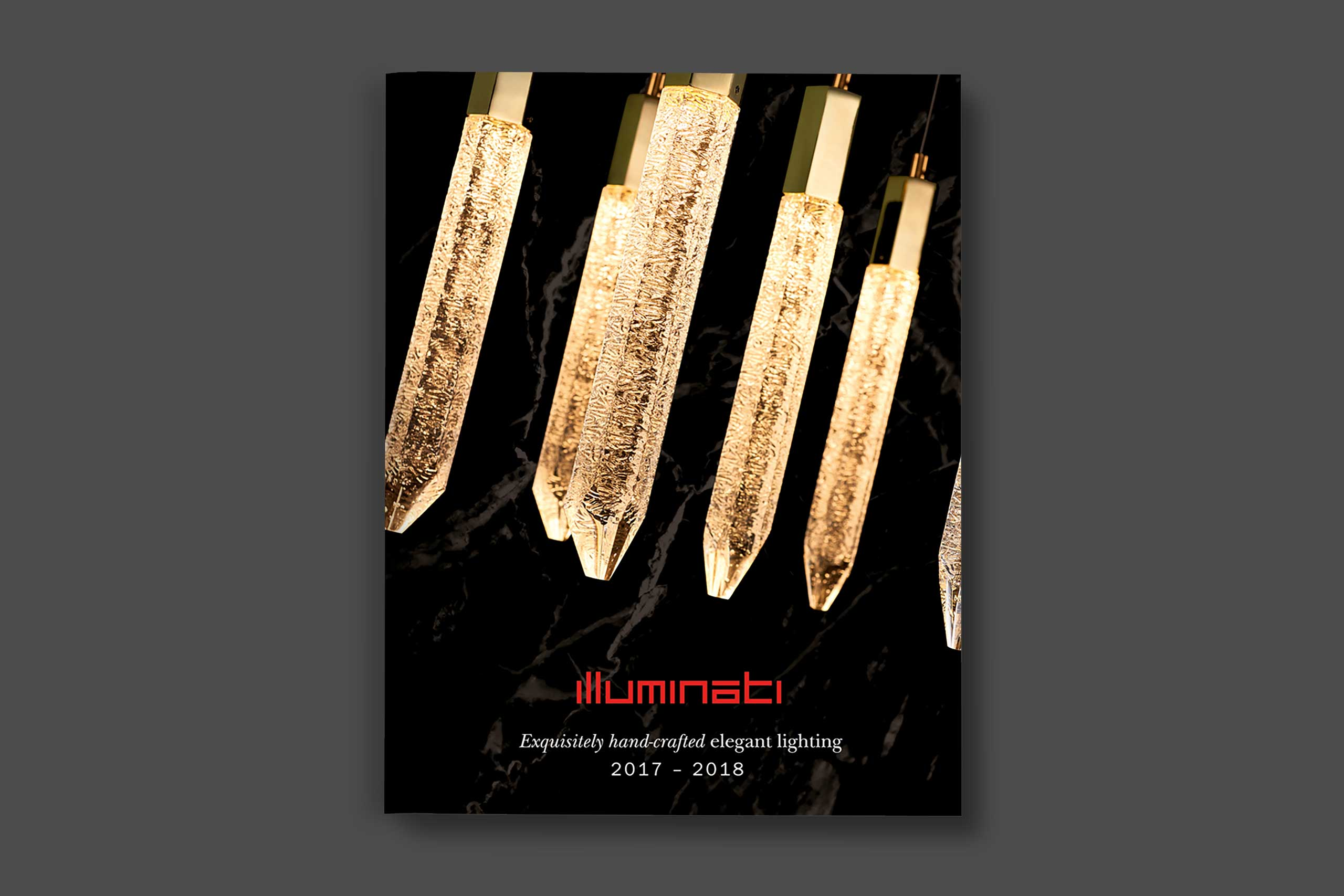 Illuminati Lighting product brochure cover with brand marketing expertise