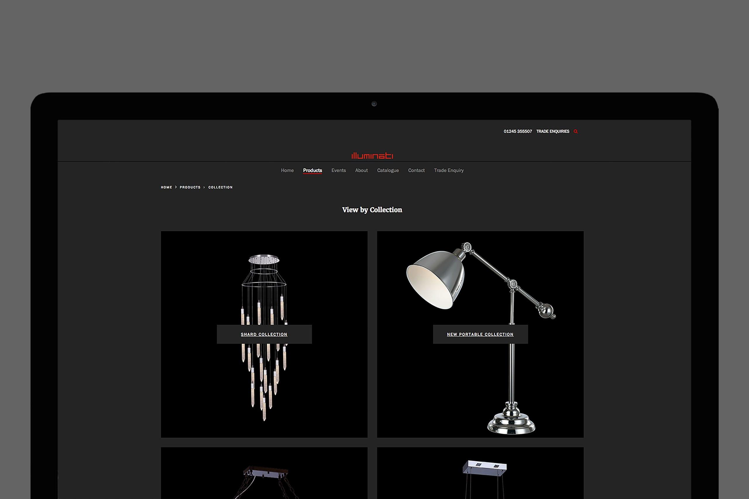 Illuminati Lighting category product website with brand marketing expertise