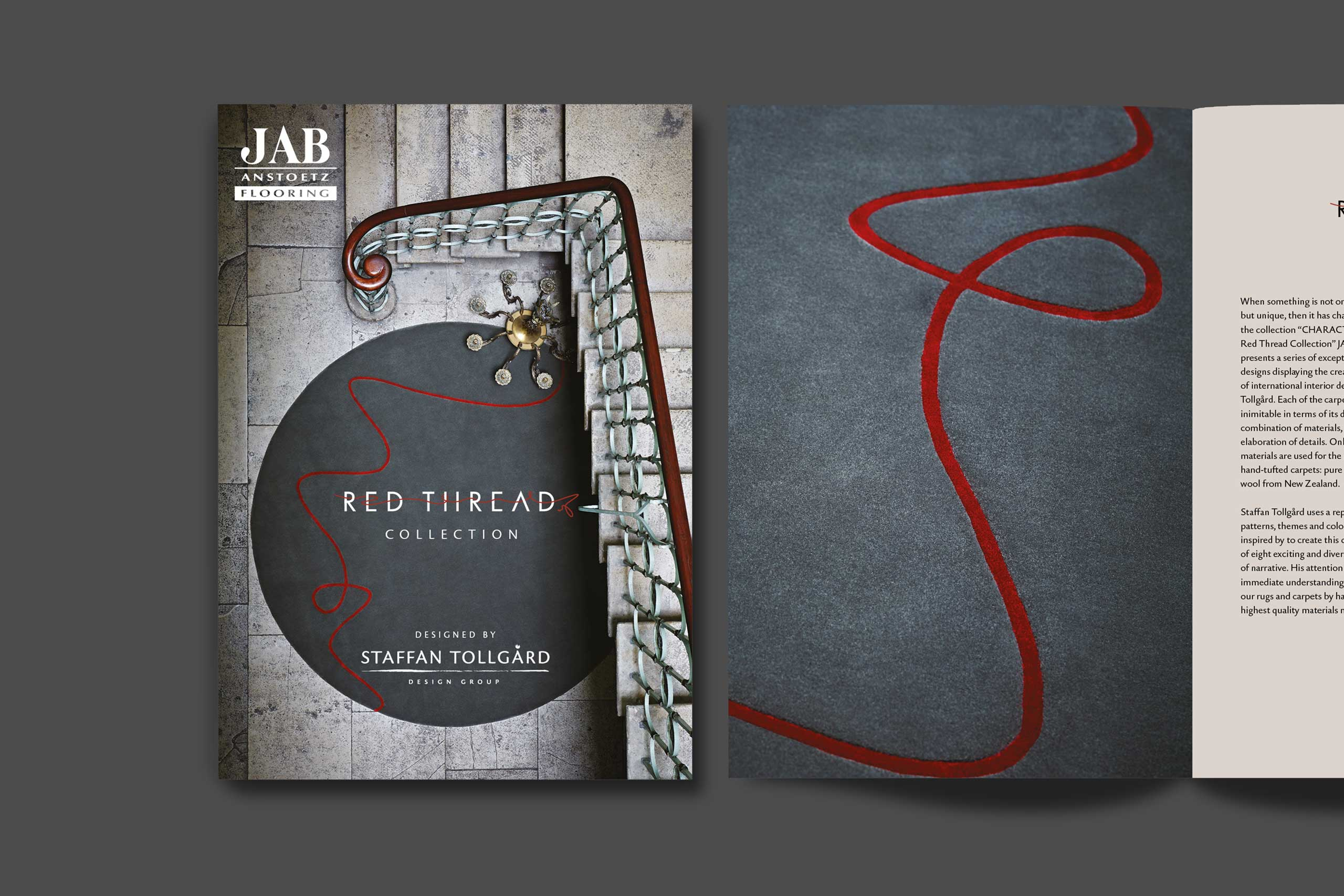 Jab rugs Interior product sales literature with Staffan Tollgärd cover and spread