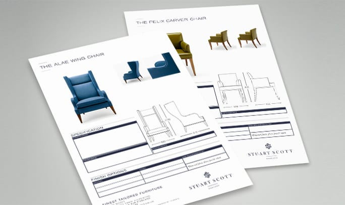 Luxury Furniture Branding Stuart Scott technical sheets