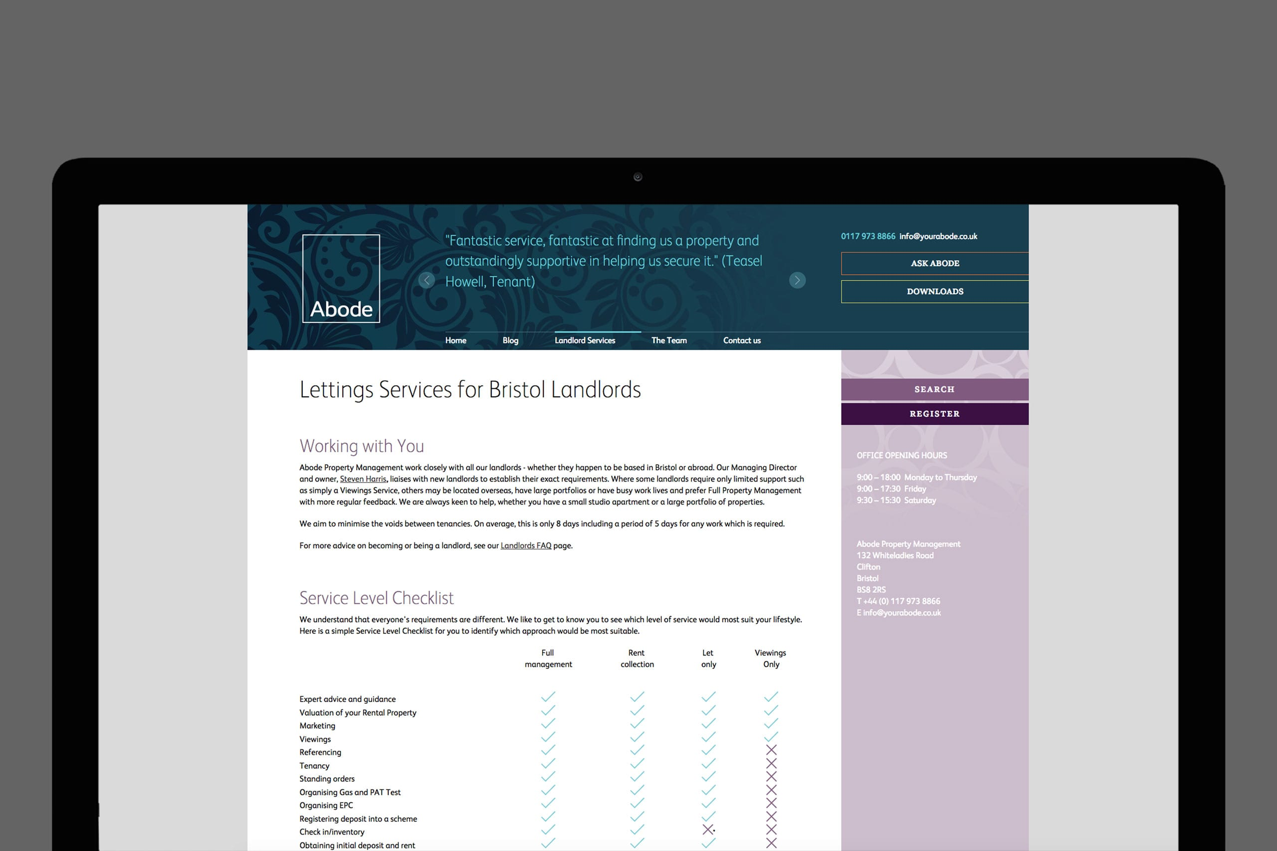 ABode desktop website | brand marketing agency