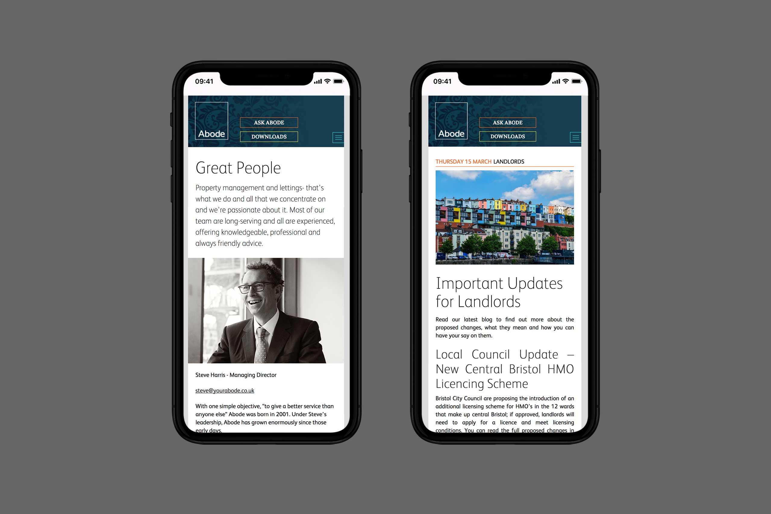 Abode mobile website | brand marketing agency