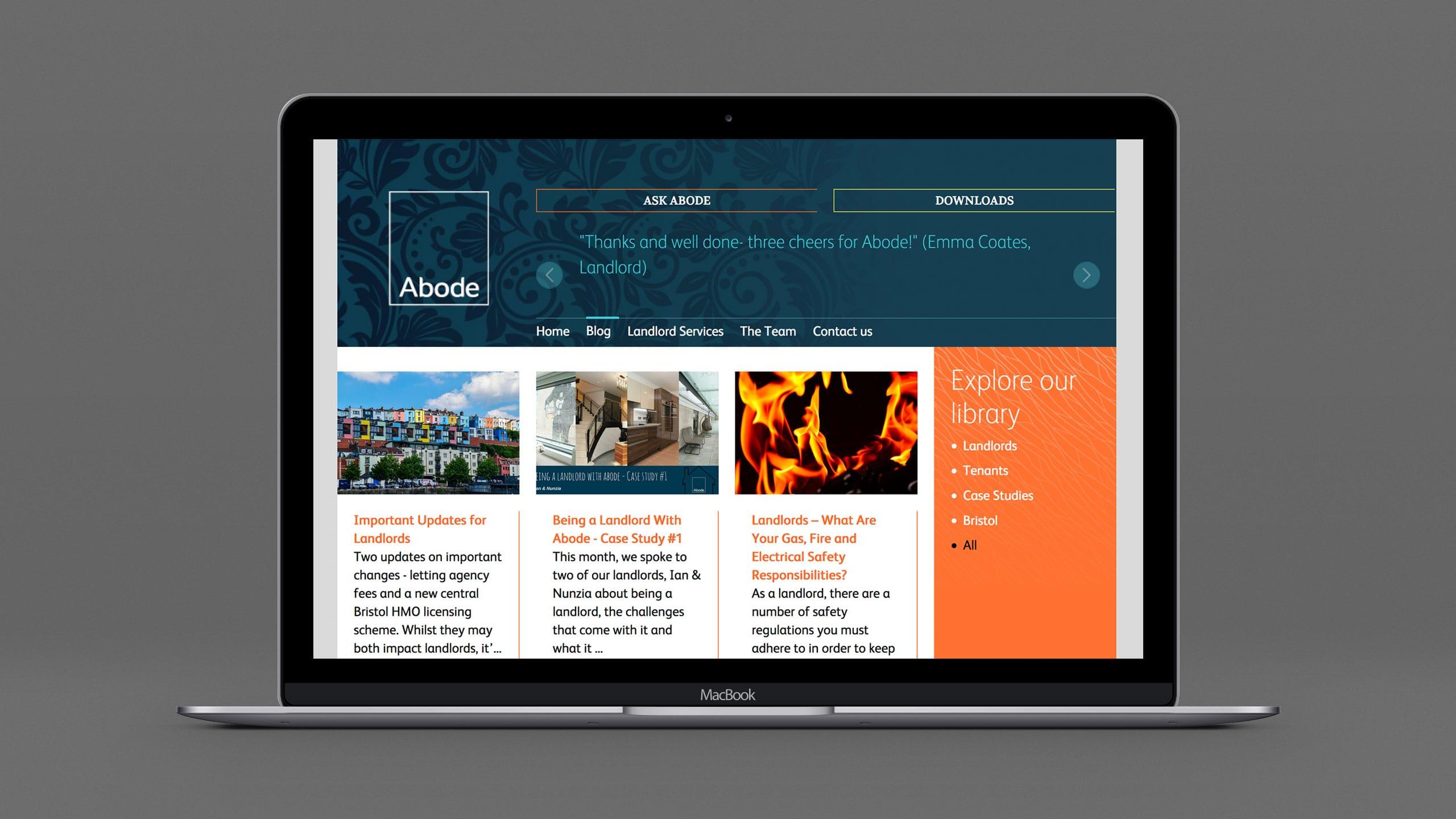 Abode website laptop