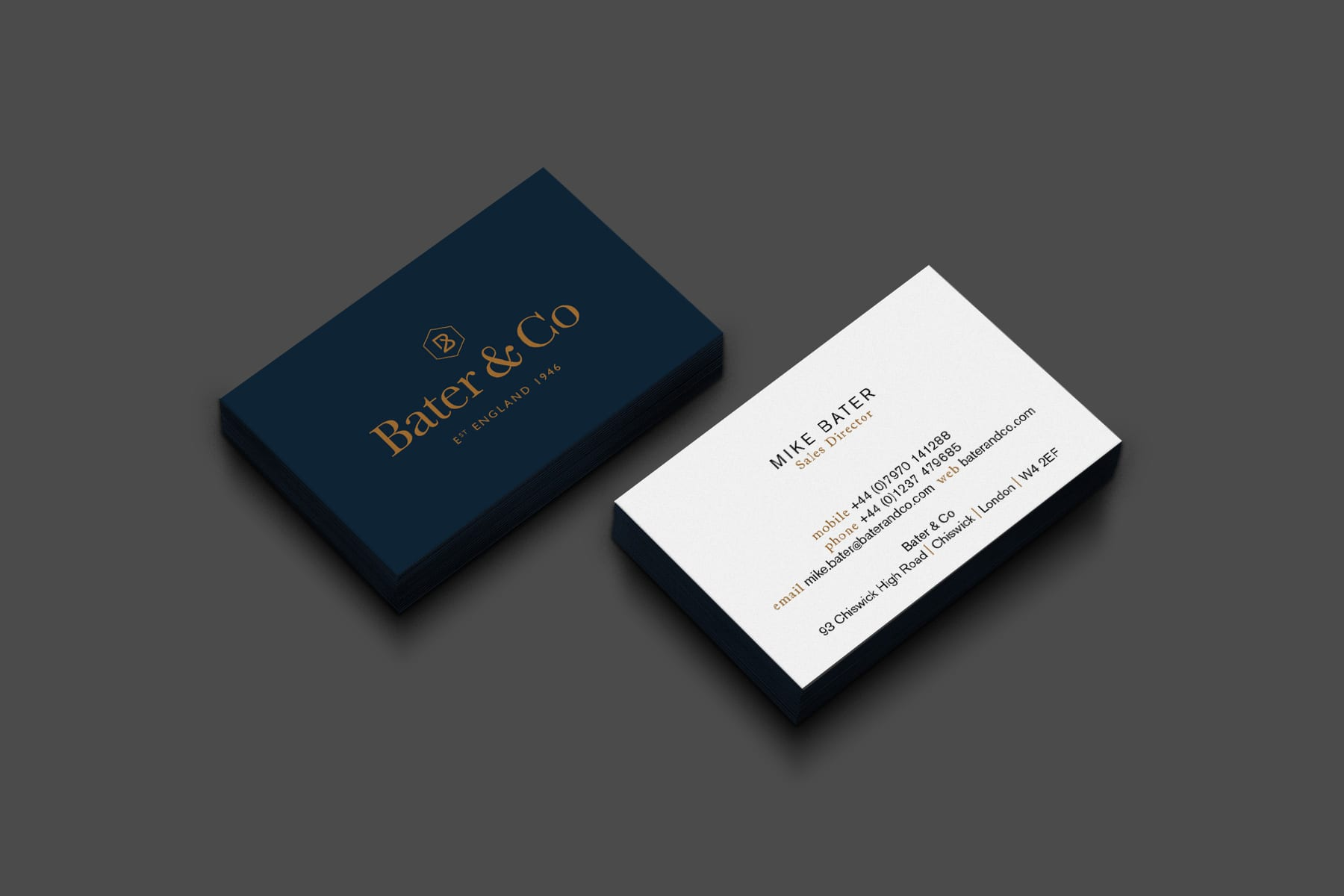 Brand Marketing for cabinetmanker Bater & Co business cards