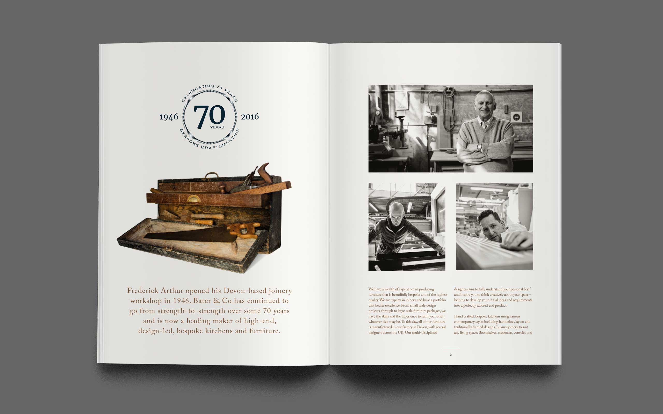 Luxury Brand marketing for cabinetmaker Bater & Co brochure spread