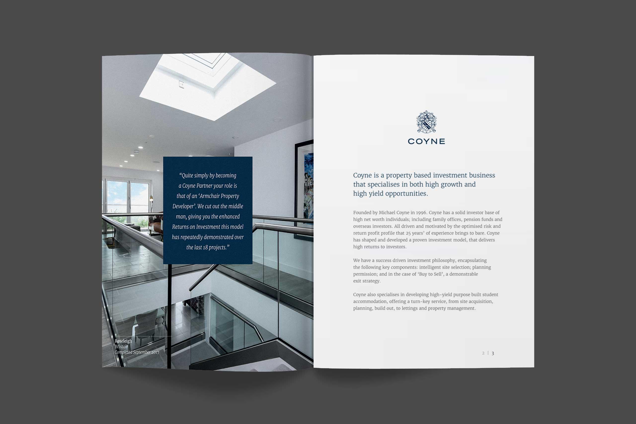 Coyne brochure spread 1 | Property brand marketing