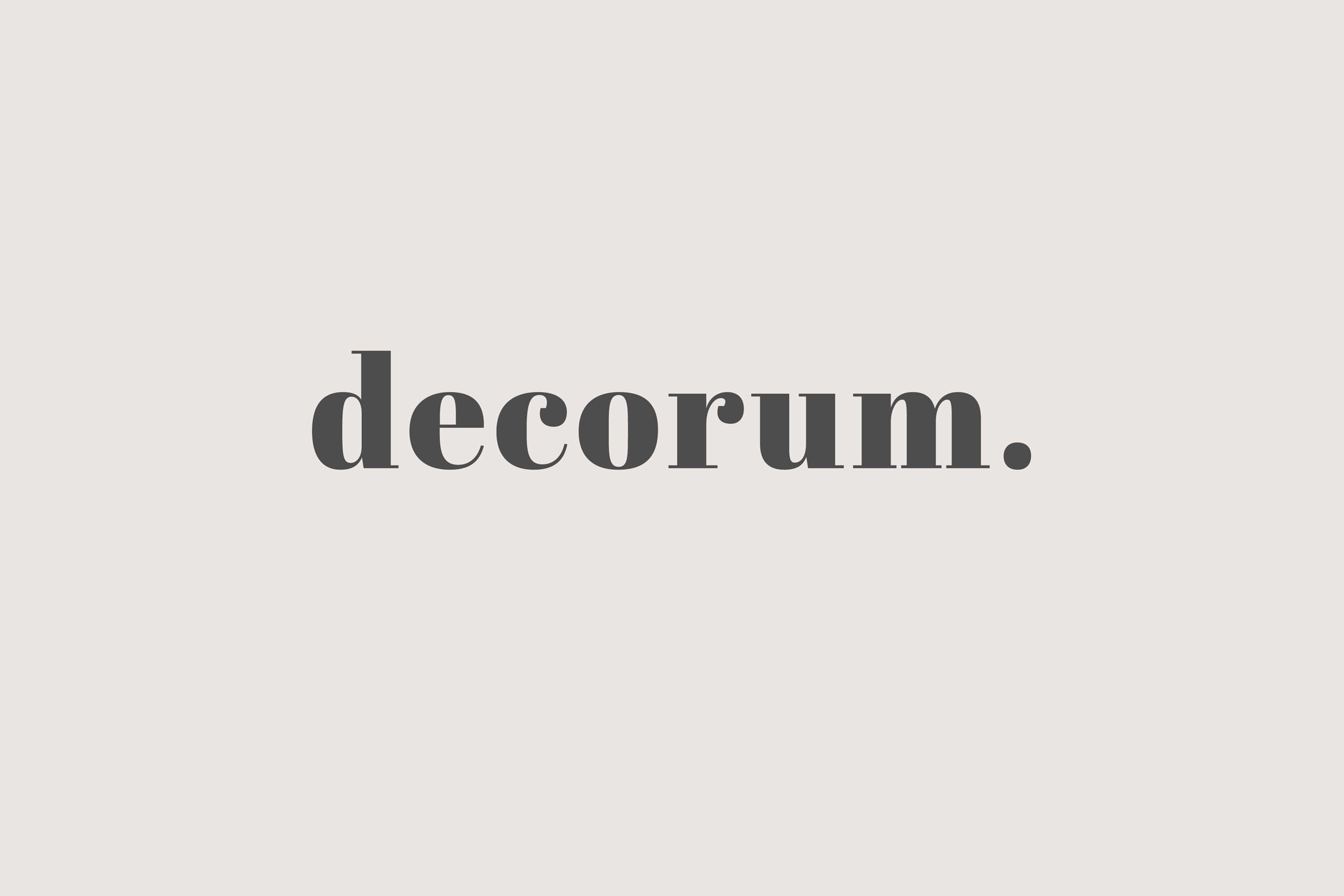 Brand marketing for interiors Decorum media brand ID view