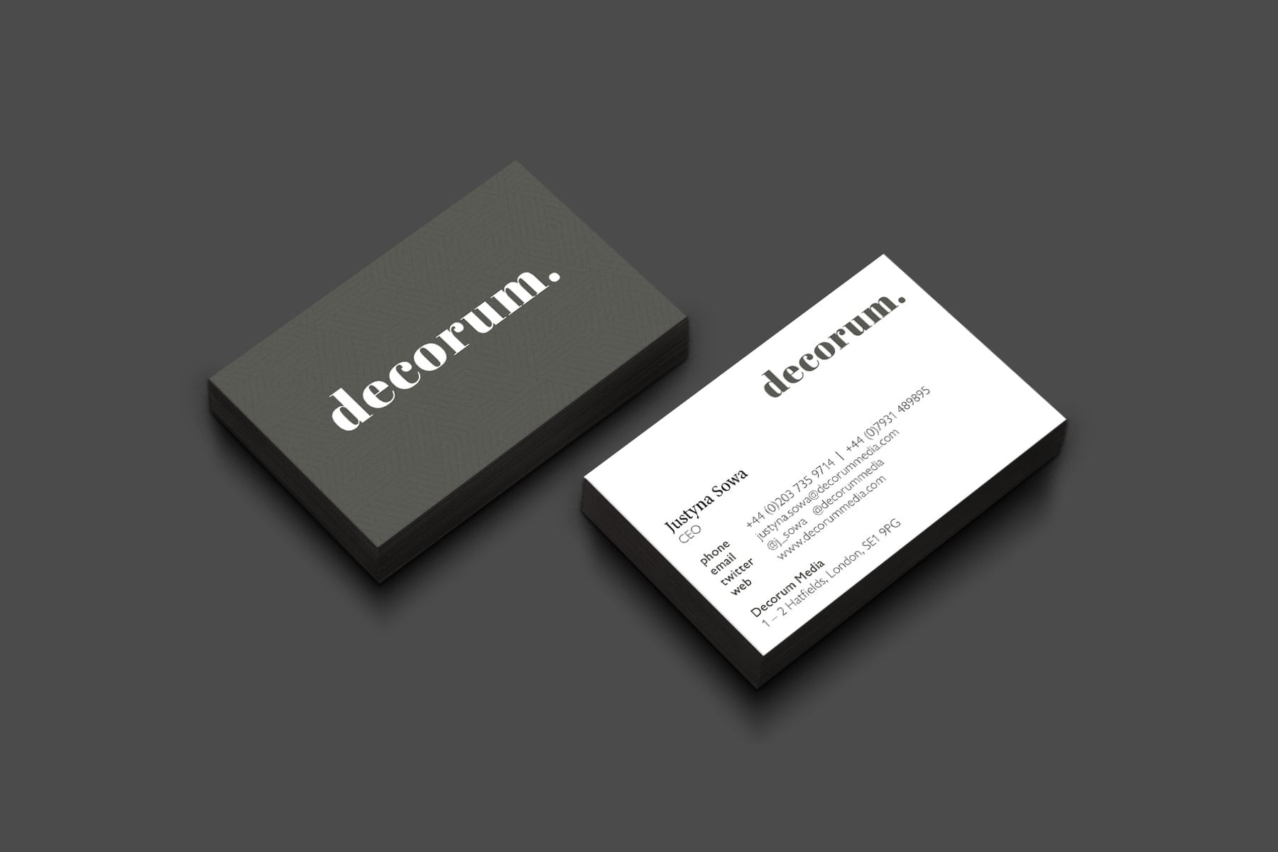 Brand marketing for interiors Decorum media business cards