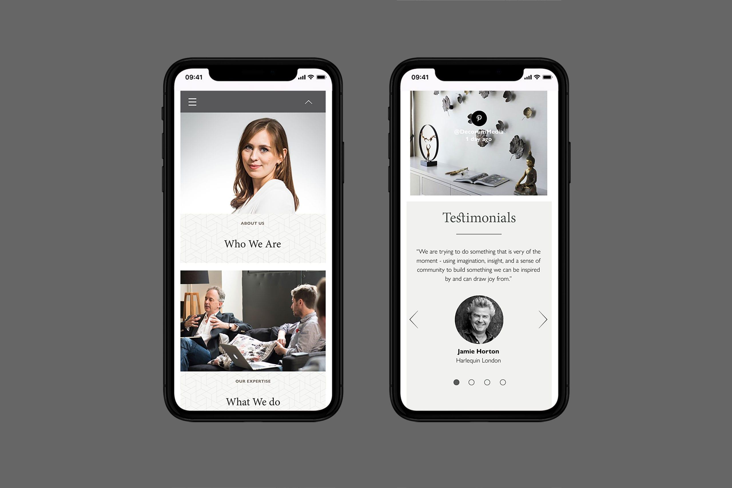 Decorum Media website design mobile site