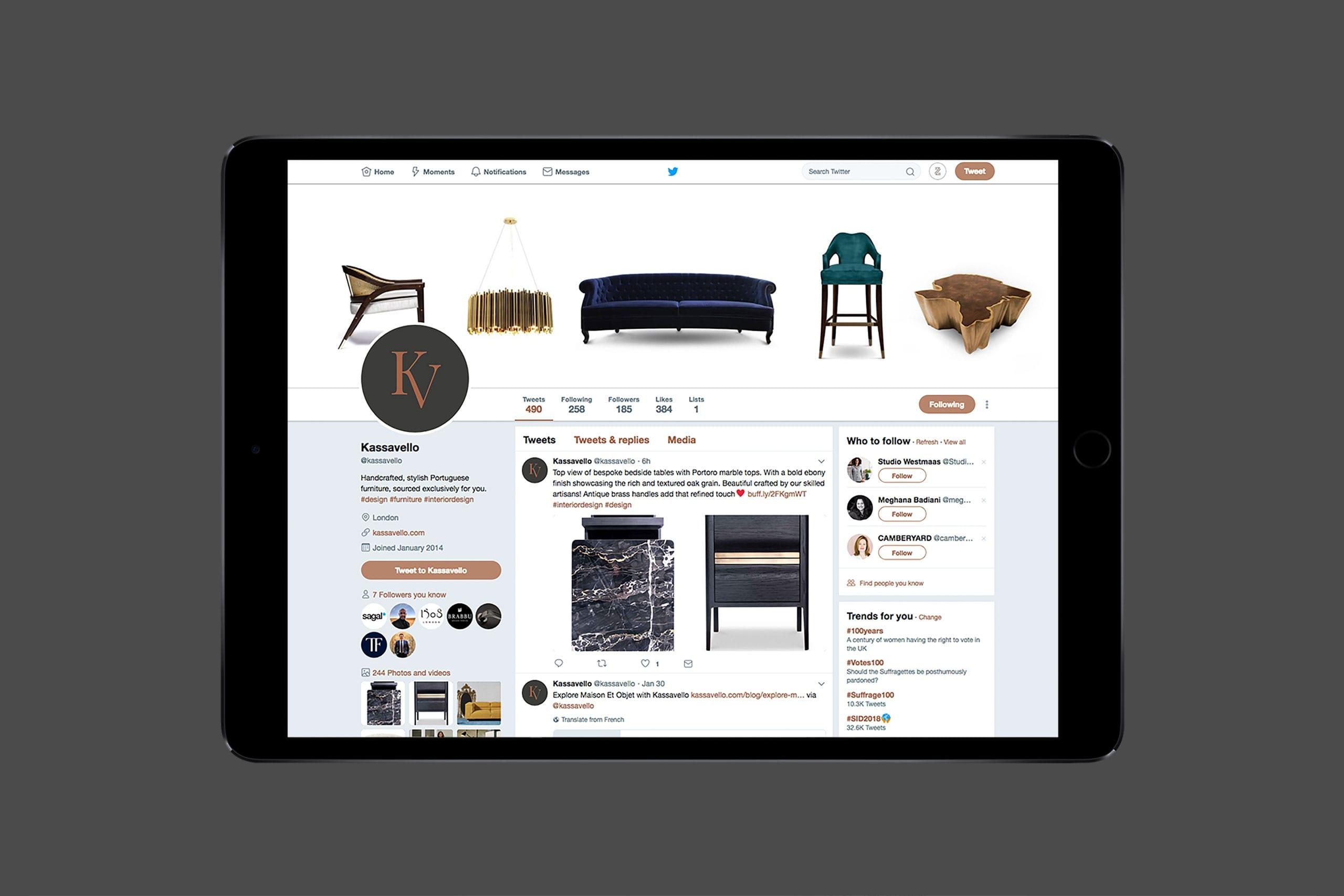 Kassavello social media assets Luxury furniture logo design