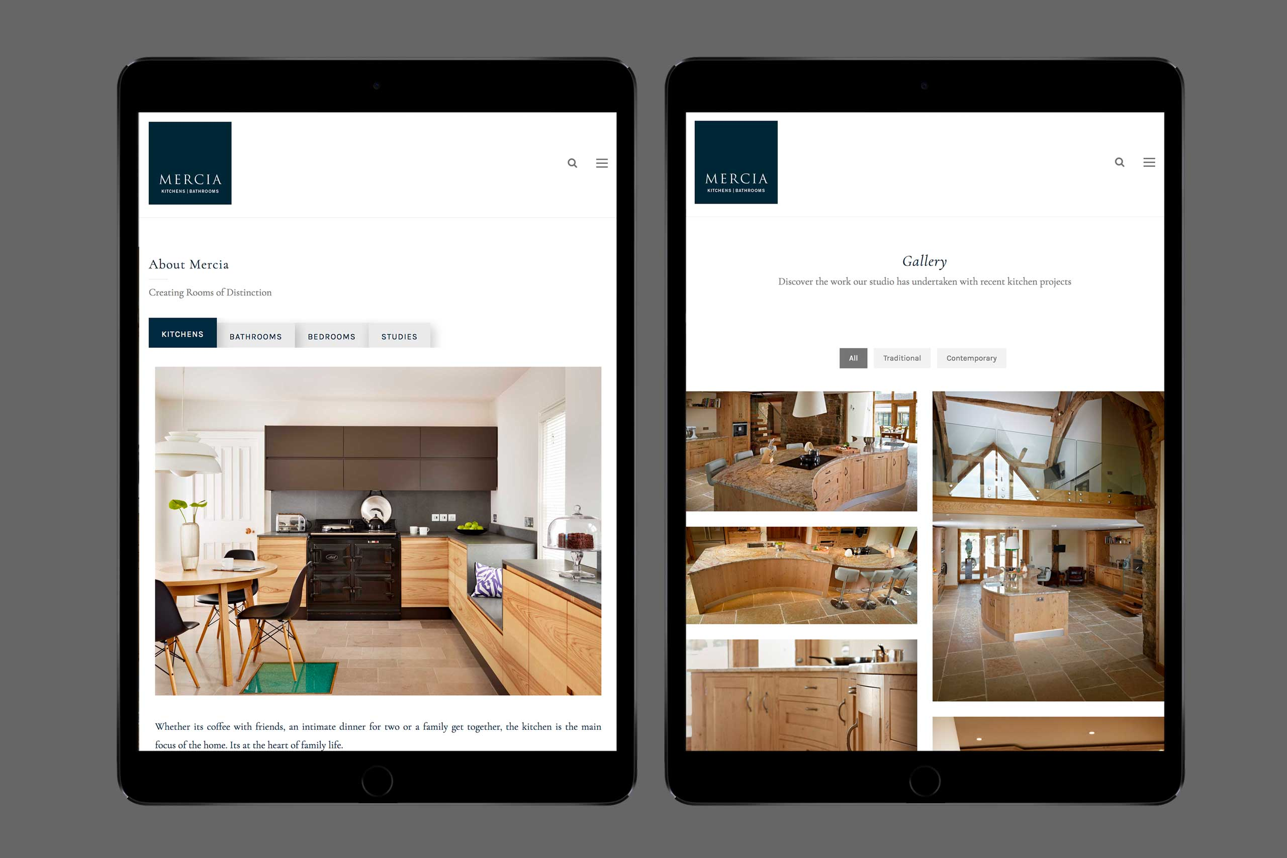 Mercia Kitchens and Bathrooms website tablet view
