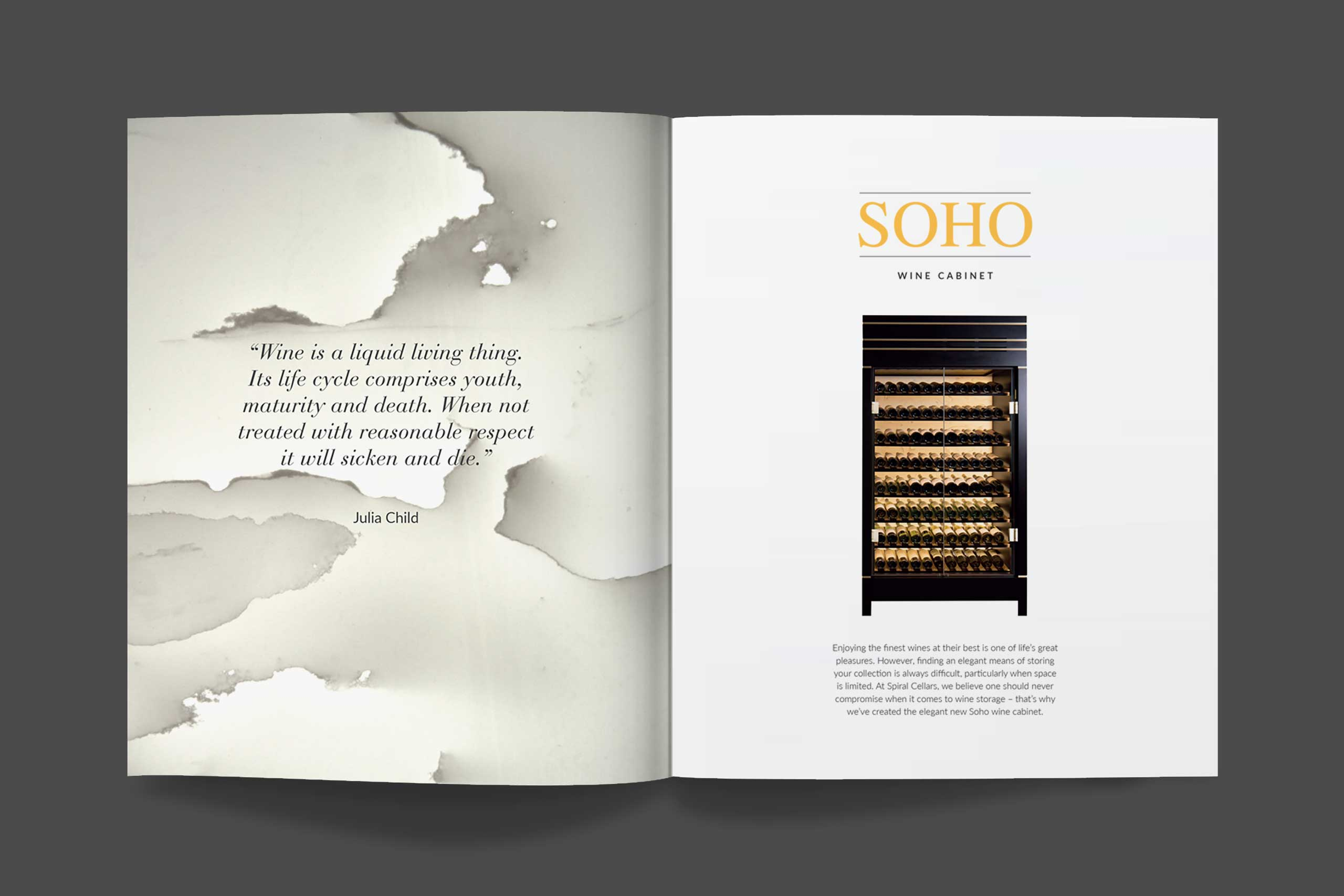 Luxury interior product marketing for Spiral Cellars brochure spread