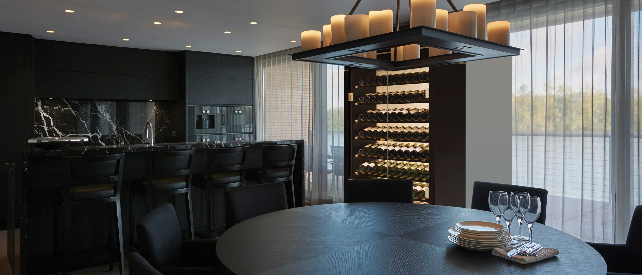 Luxury interior product marketing Spiral Cellars Soho free-standing wine display cabinet roomshot